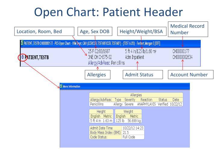 Open Chart: Patient Header
