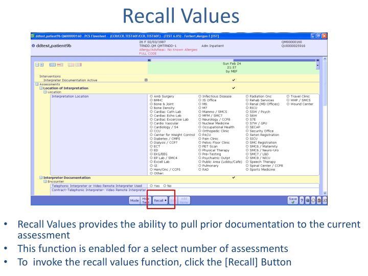 Recall Values