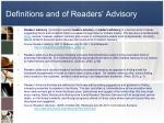 definitions and of readers advisory