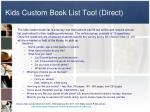 kids custom book list tool direct