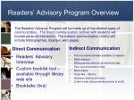 readers advisory program overview