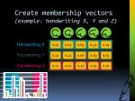 create membership vectors example handwriting x y and z