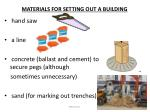 materials for setting out a building2