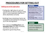 procedures for setting out