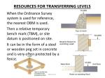 resources for transferring levels3