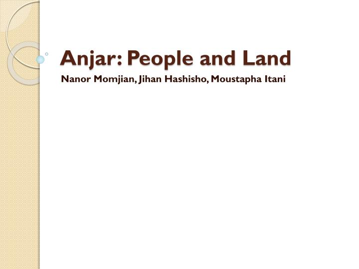 anjar people and land n.