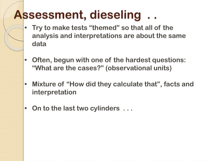 Assessment, dieseling  . .