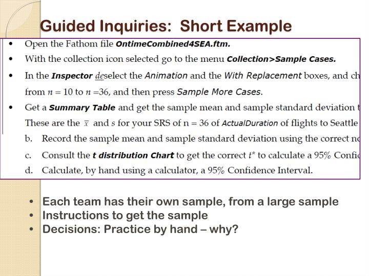 Guided Inquiries:  Short Example