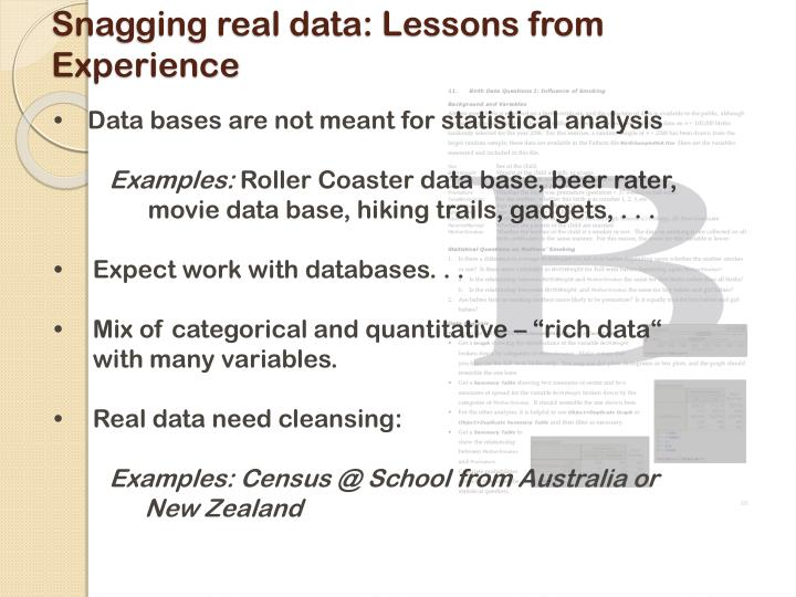 Snagging real data: Lessons from Experience