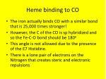 heme binding to co