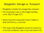 myoglobin storage vs transport
