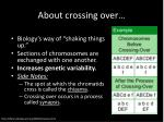about crossing over