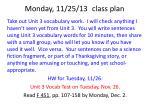 monday 11 25 13 class plan