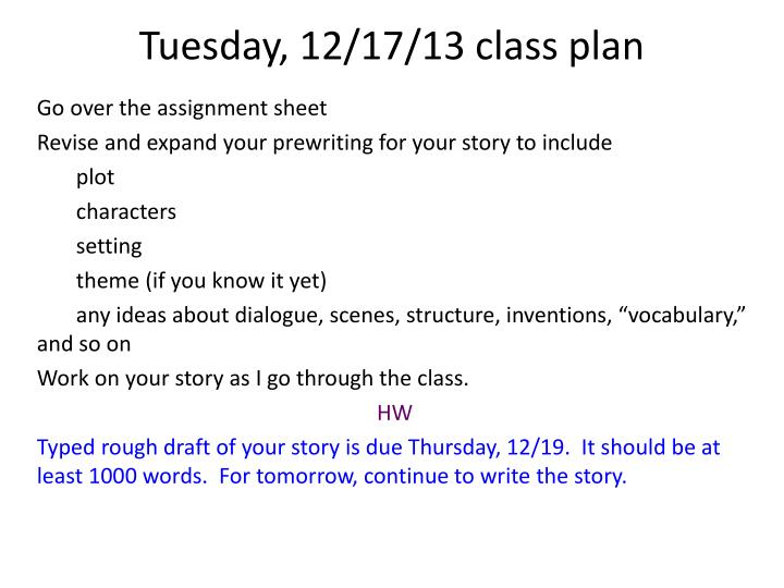 tues day 12 17 13 class plan n.