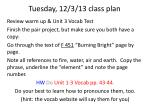 tuesday 12 3 13 class plan