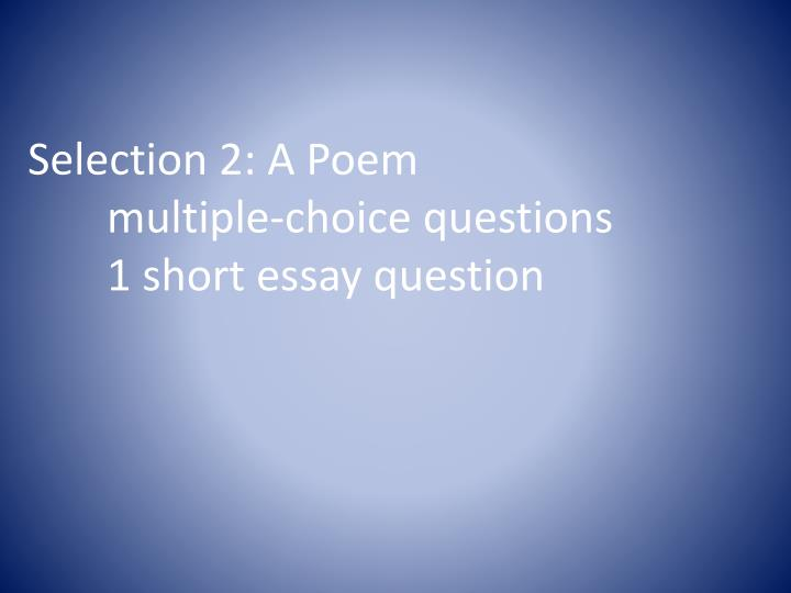 Selection 2: A Poem