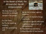 in the name of allah the all merciful the all compassionate