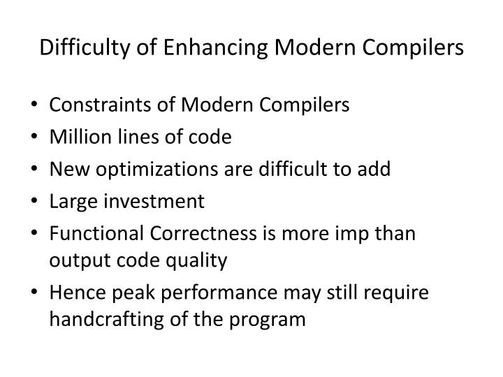 Difficulty of Enhancing Modern Compilers