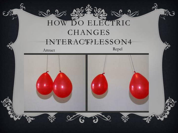 How do electric changes interact?LESSON4