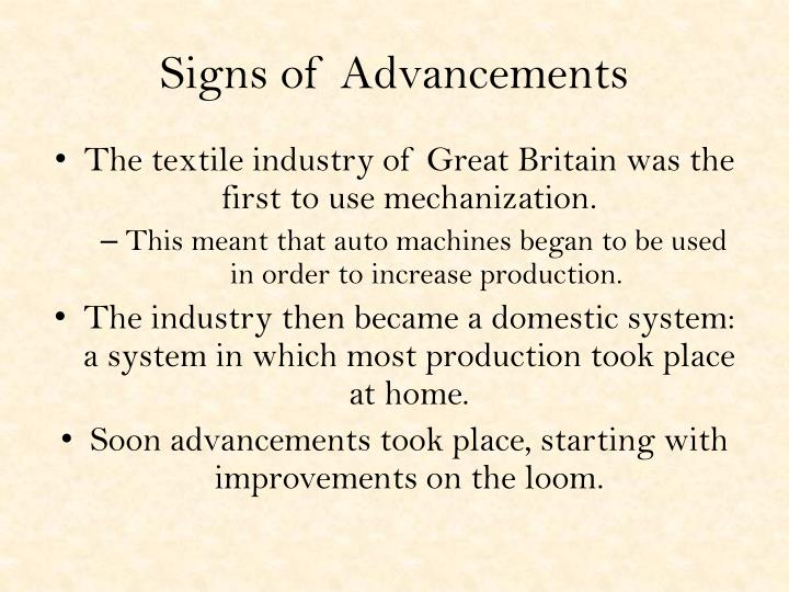Signs of advancements