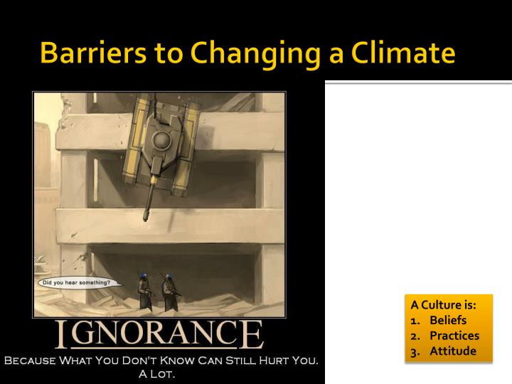 Barriers to Changing a Climate