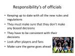 responsibility s of officials