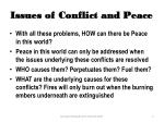 issues of conflict and peace