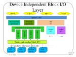 device independent block i o layer
