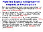 historical events in discovery of enzymes as biocatalysts 1