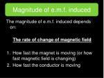 magnitude of e m f induced