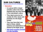 sub cultures http www youtube com watch v mdybm7y9chc