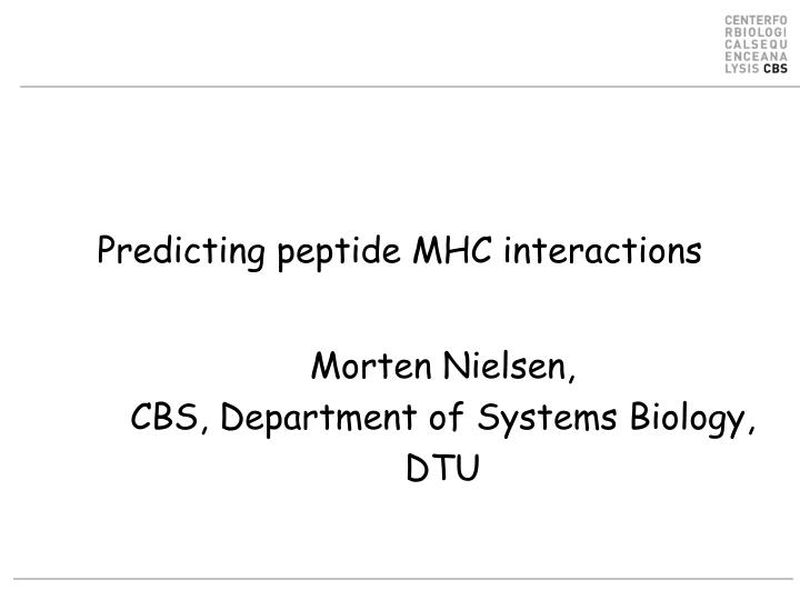 predicting peptide mhc interactions n.