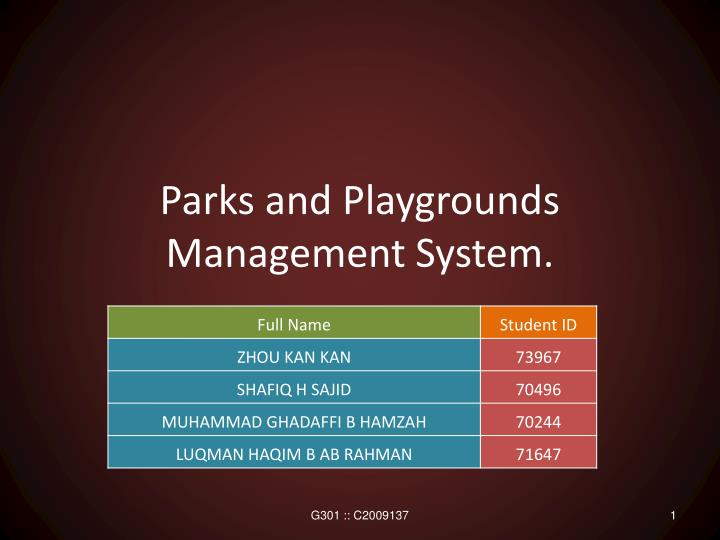 parks and playgrounds management system n.