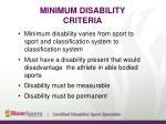 minimum disability criteria