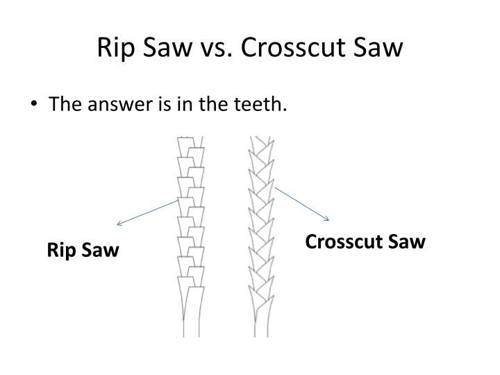 Rip saw vs crosscut saw