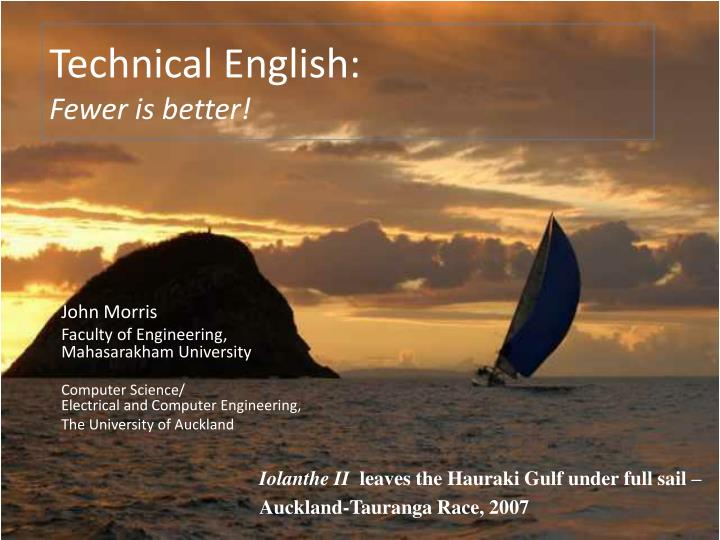Technical english fewer is better