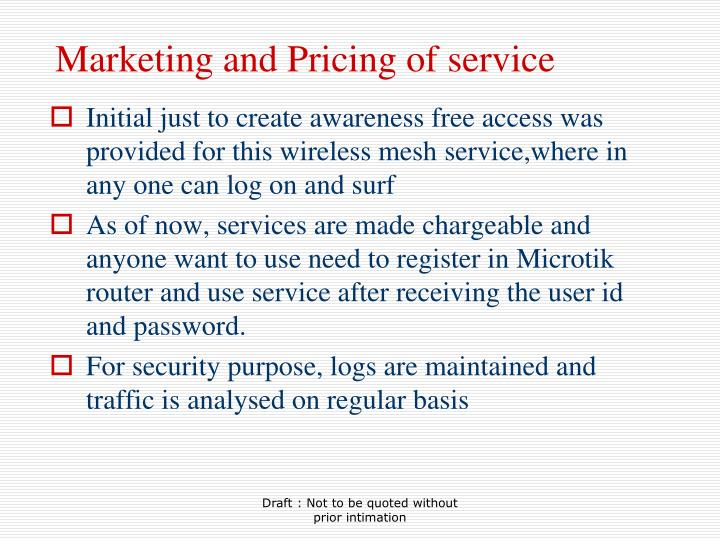 Marketing and Pricing of service