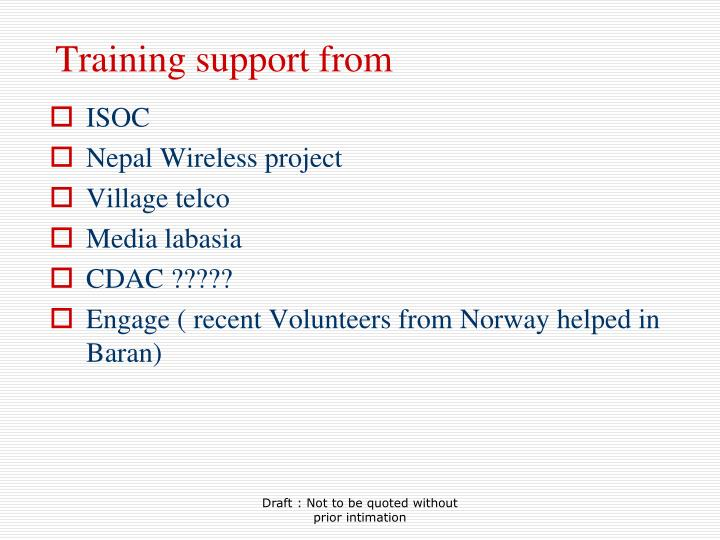 Training support from