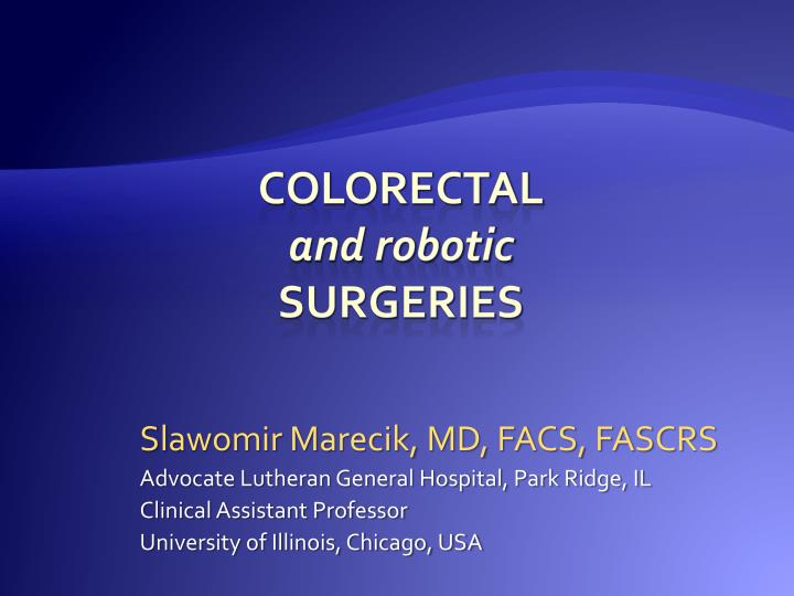 colorectal and robotic surgeries n.