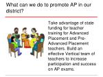 what can we do to promote ap in our district