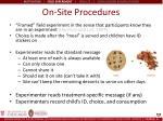 on site procedures