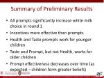 summary of preliminary results