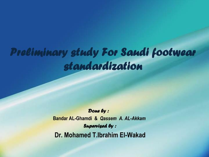 preliminary study for saudi footwear standardization n.
