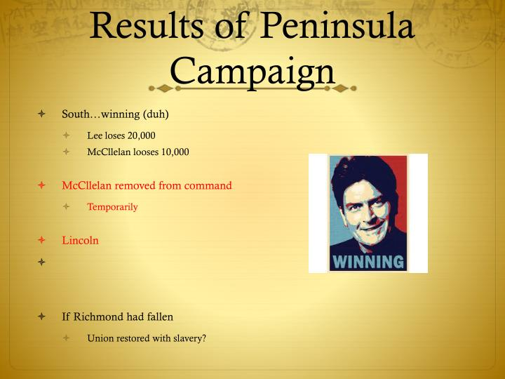 Results of Peninsula Campaign
