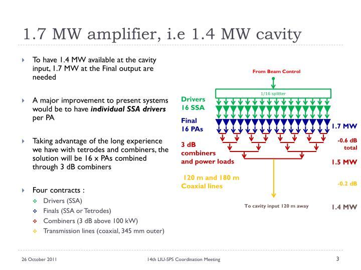 1 7 mw amplifier i e 1 4 mw cavity