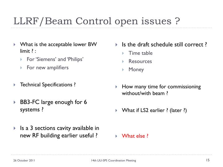 LLRF/Beam Control open issues ?
