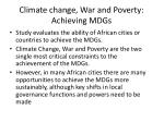 climate change war and poverty achieving mdgs