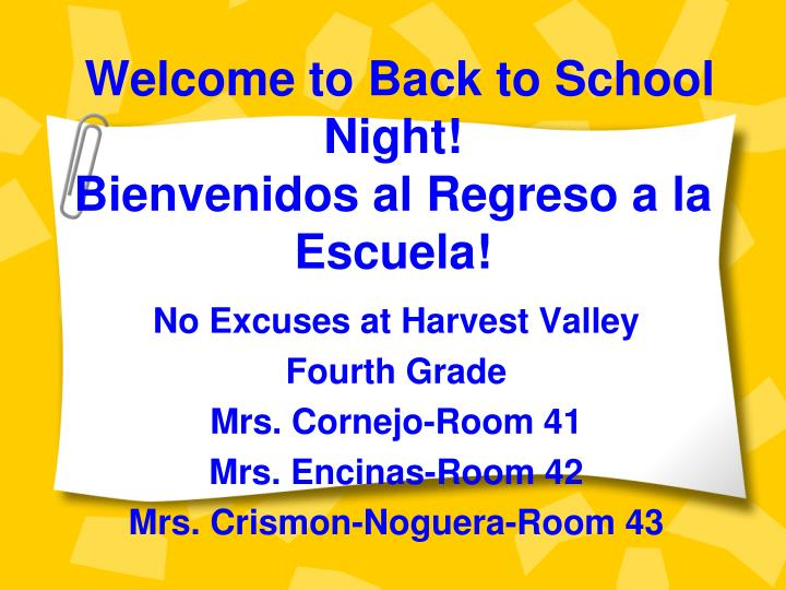 welcome to back to school night bienvenidos al regreso a la escuela n.