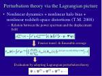 perturbation theory via the lagrangian picture