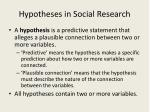 hypotheses in social research